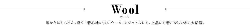 ウール 暖かさはもちろん、軽くて着心地の良いウール、カジュアルにも、上品にも着こなしできて大活躍。